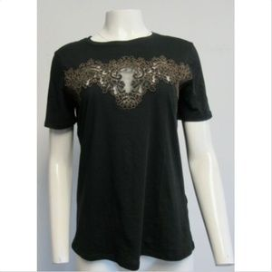 SANDRO black t-shirt with brown lace sz 3